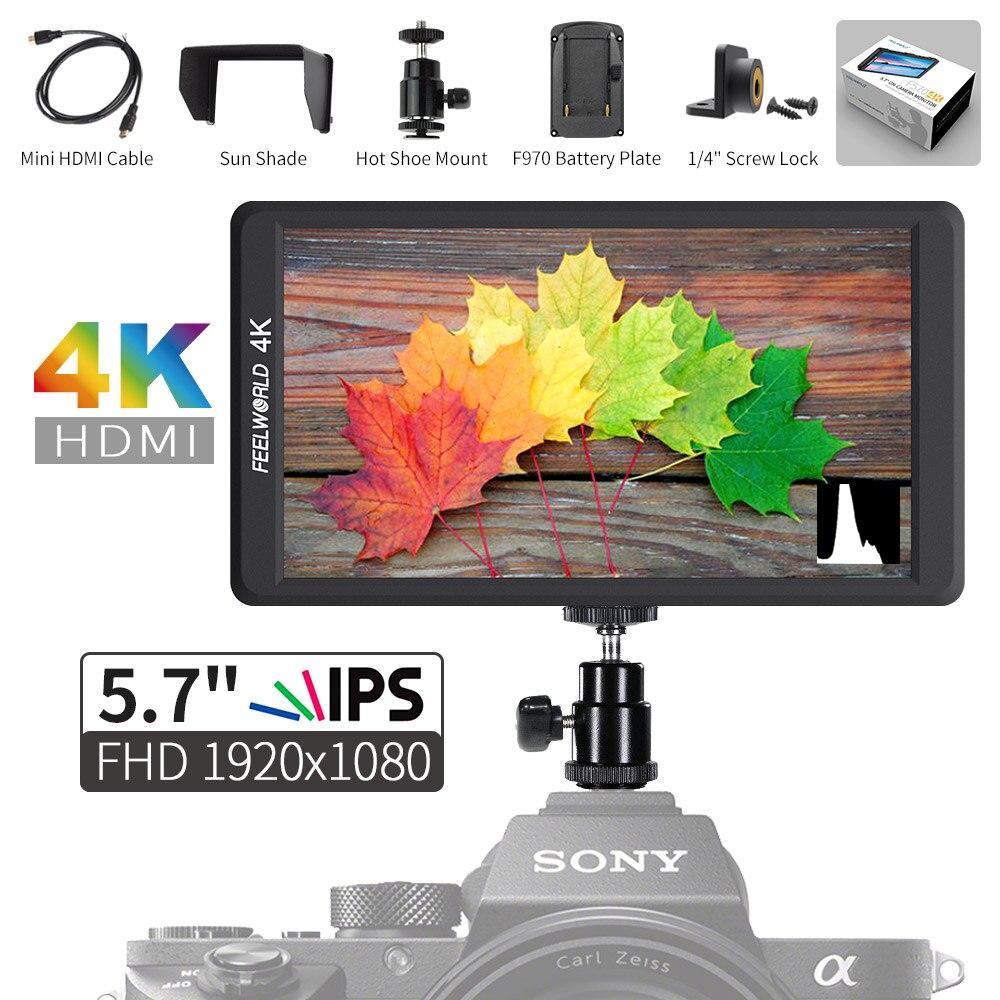 Feelworld F570 5.7 IPS Full HD 1920x1080 4K HDMI On-camera Field Monitor for Canon Nikon Sony DSLR Camera DSLR Gimbal Rig