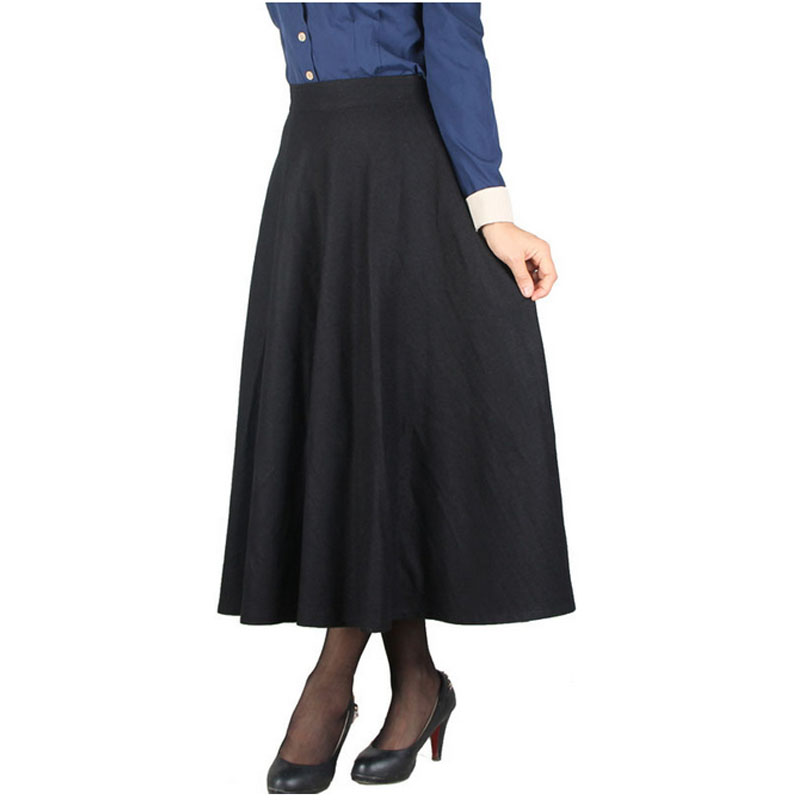 Hot Sale High Waist Long Ankle Length Skirts for women Spring Autumn Plus  size red falda jupe green red pleat office work wear-in Skirts from Women s  ...