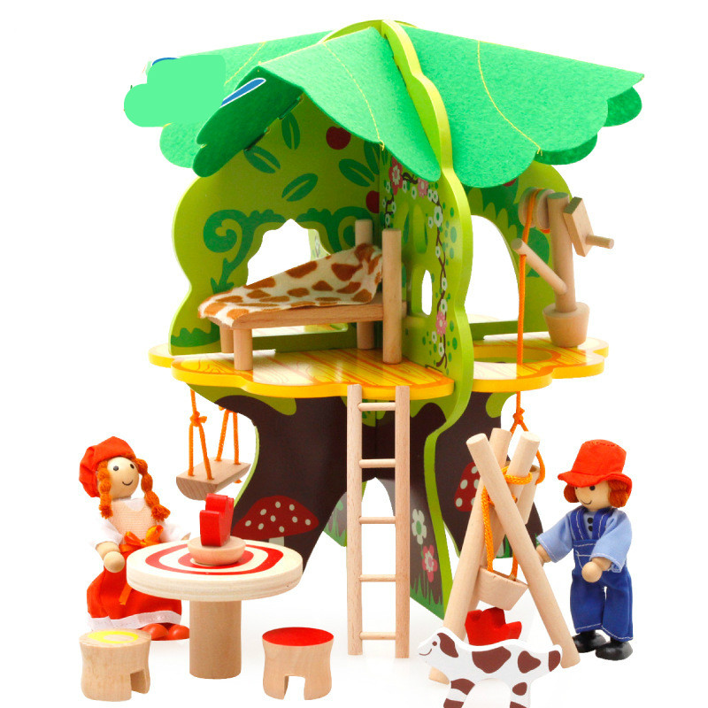 Baby 3D tree house assembly doll house.toys childrens home suite building blocks