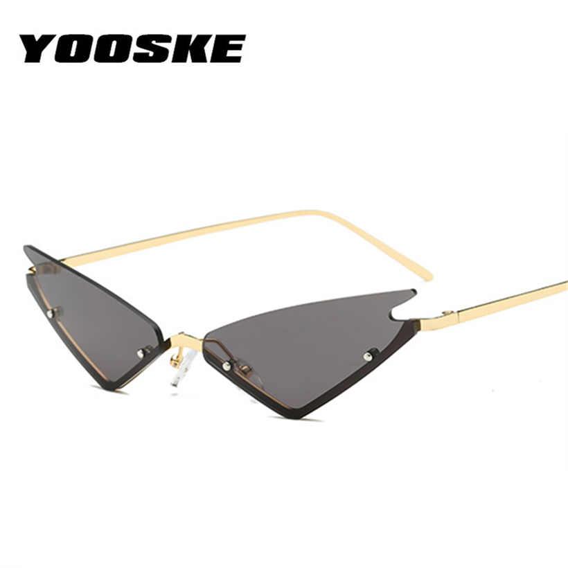 """YOOSKE маленькие солнцезащитные очки """"кошачий глаз"""" для женщин, фирменный дизайн, полуоправа, красные зеркальные очки, женские металлические треугольные очки, оттенки"""