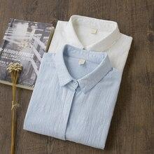 Blusa de algodón 100% camisa blanca para mujer 2019 camisas de oficina formales e informales Blusa de algodón entallado moda Blusas femeninas