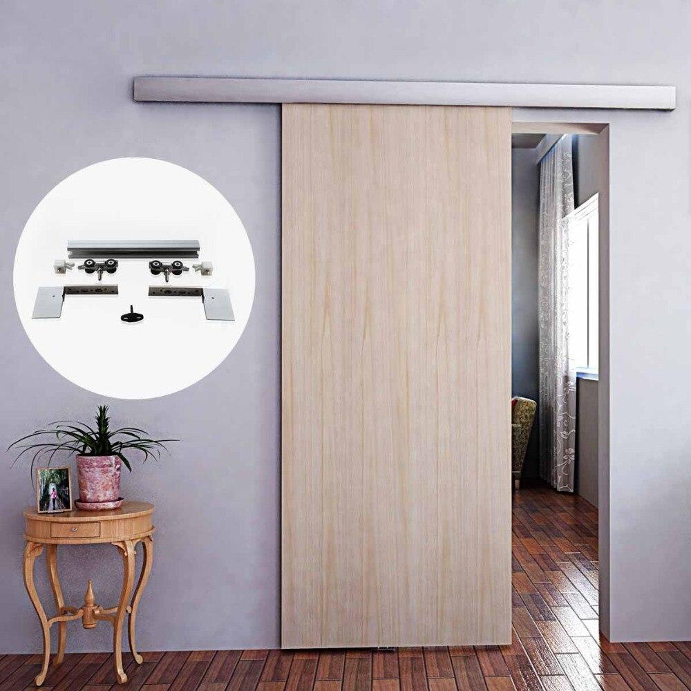 Matériel de porte coulissante en bois brossé intérieur en alliage d'aluminium de 6.6 pieds