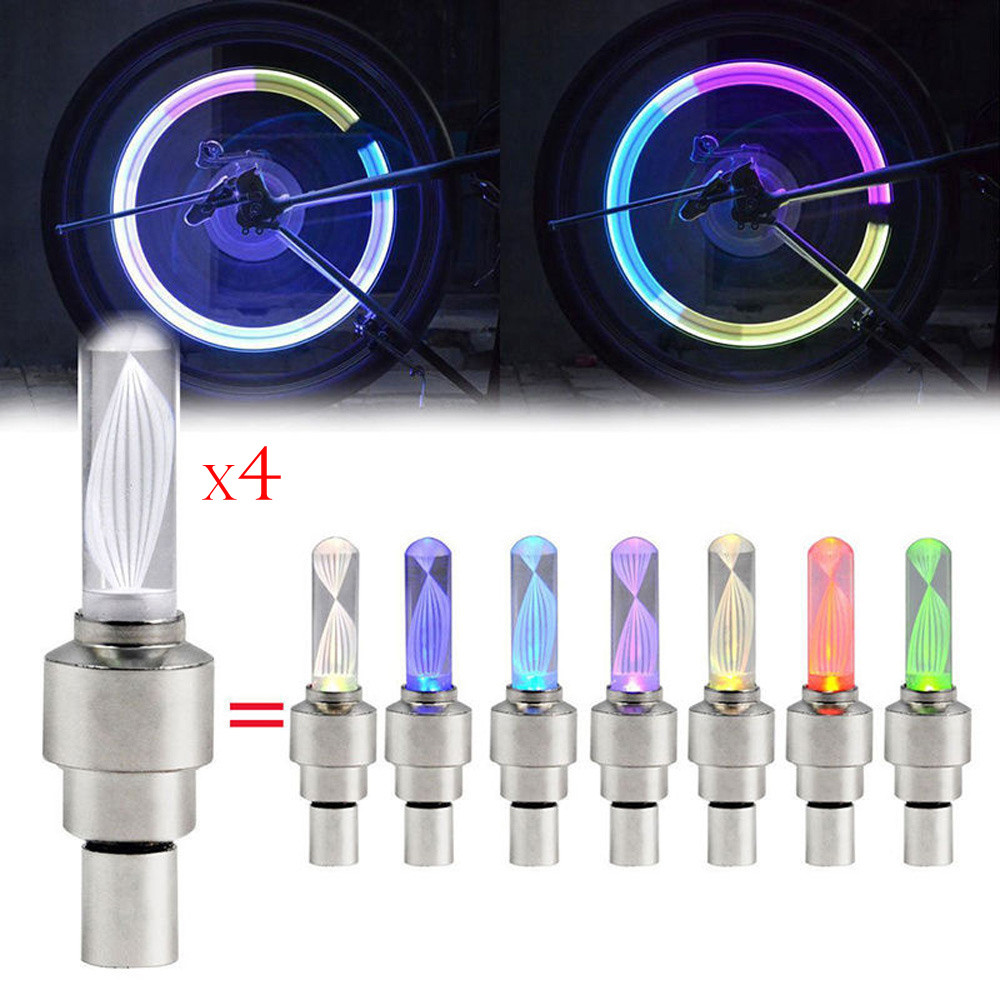 Jessicas Store 4pcs Bike Car Motor Wheel Tyre Tire Valve Cap LED Light Spoke Flashing Lamp For Dropshipping