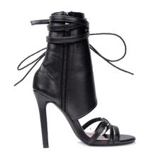 FragrantLily Roman Buckle strap Shoes Women Sandals sexy Gladiator Lace up peep toe sandals high heels Woman Ankle boots