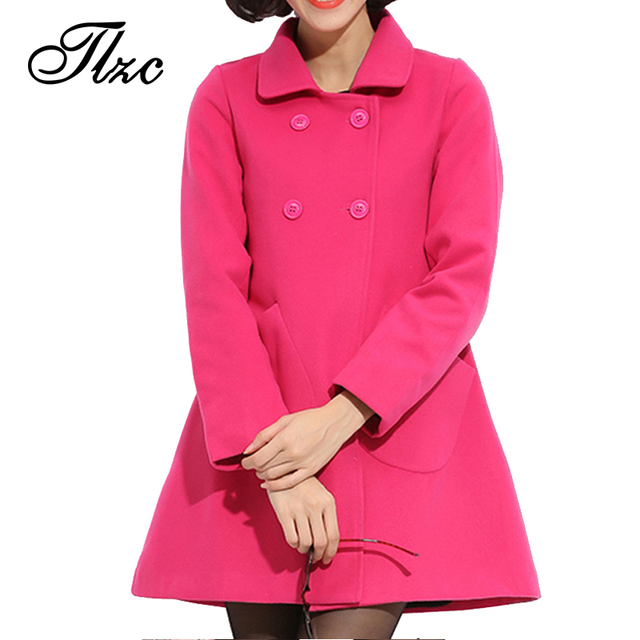 Modesty Lady Winter Long Jackets Fashion Women Wool Coats Size L-4XL Big Pockets Lady Slim Fit Outerwear Sweet Female Clothing