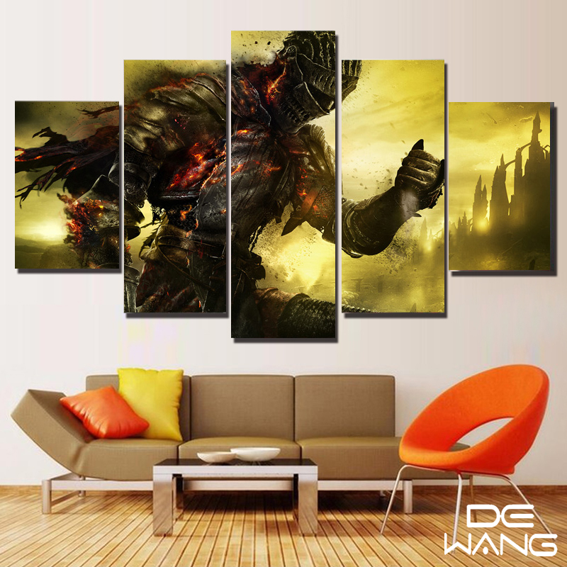 5 piece canvas art abstract set animal movie dark souls print canvas poster oil painting framed. Black Bedroom Furniture Sets. Home Design Ideas