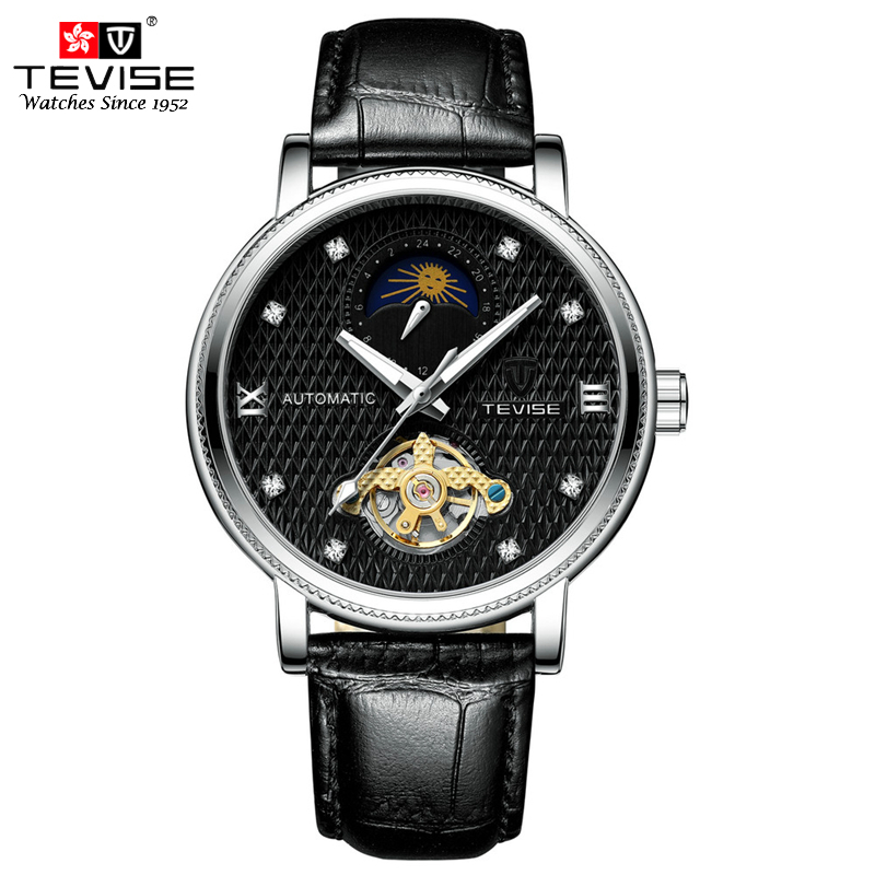 TEVISE Watch Men Mechanical Automatic Self Wind Leather Watches Moon Phase Tourbillon Wristwatches Montre Mecanique Homme T612 цена