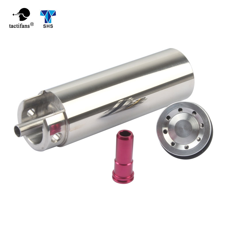 SHS Tune Up Kit Steel CNC Milled One-Piece Solid Cylinder Integrated Cylinder Head Piston Head M4 Nozzle Airsoft Paintball Game