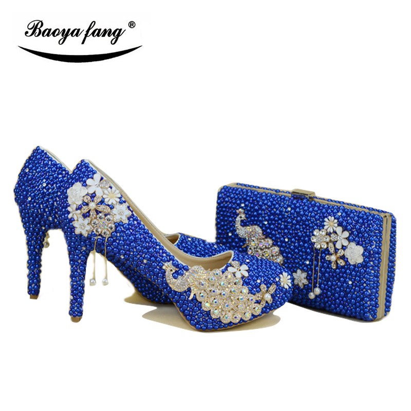 New Royal Blue pearl Women wedding shoes with matching bags bride High heels platform shoes Peacock Ladies Paty shoe and bag set baoyafang red crystal womens wedding shoes with matching bags bride high heels platform shoes and purse sets woman high shoes