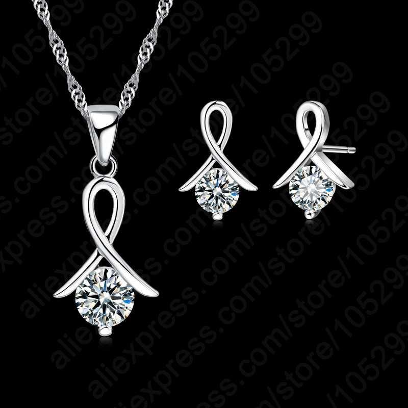 Neue Mode-Set Für Frauen Kreuz CZ 925 Sterling Silber Anhänger Halskette & Ohrringe Mit Kostenloser versand