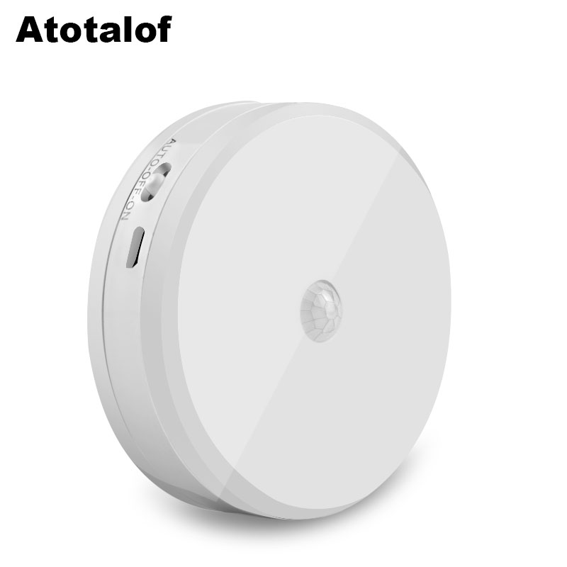 Atotalof Automatically Switch On or Off LED Night Light USB Charging PIR Motion Sensor Night Lights 6 LED for Baby Kids Bedroom