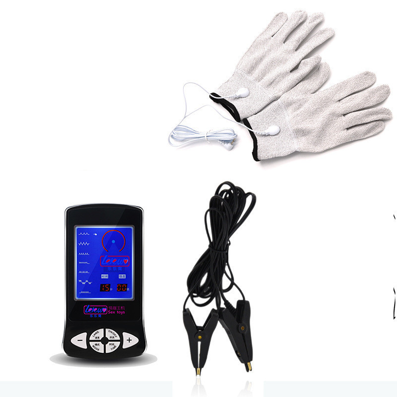 New Electric Shock Physical Pulse Therapy Glove Massage Electric Stimulator Nipple Clamps Erotic Accessories Sex Toys