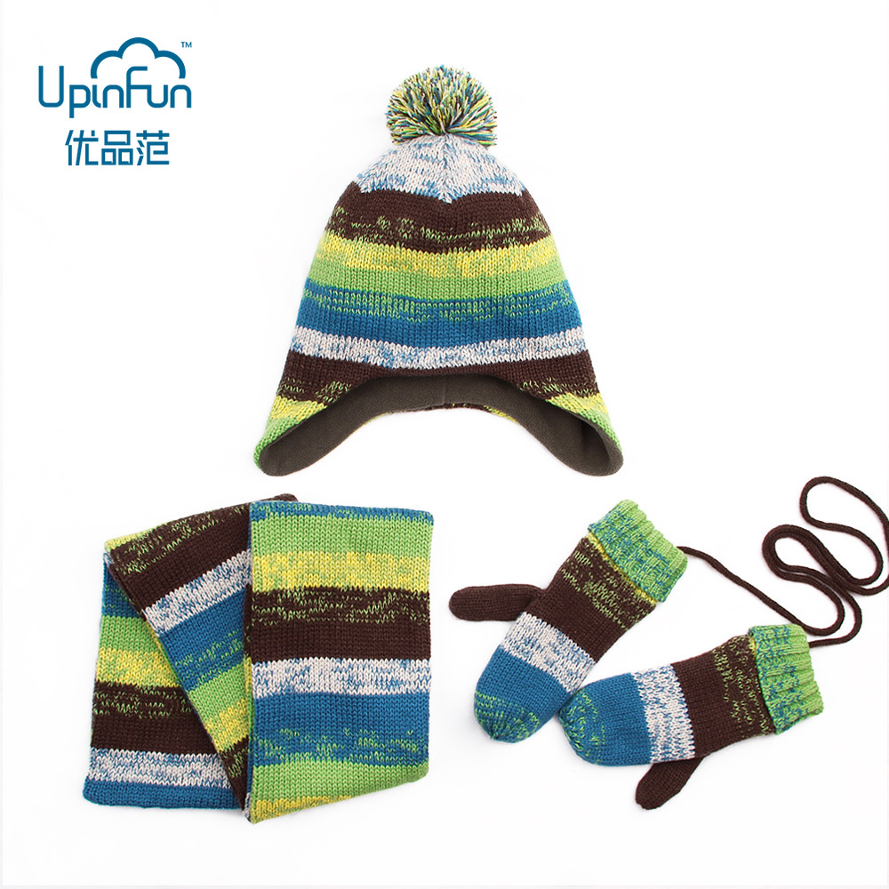 3pcs/Set Gifts Cute Unisex Winter Glove Scarf Hat For Baby Kids Cartoon Rainbow Warm And Velvet Knitted For Girl Boy Hot Sale
