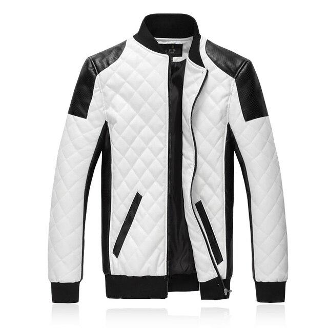 Новая Мода PU Кожаная Куртка Мужчины Черный Белый Лоскутное Мужские Зимние Кожаные Куртки Пальто Тенденция Тонкий Подходят Молодежи Мотоциклетная Куртка