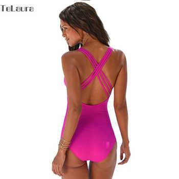 2019 New Vintage One Piece Swimsuit Women Swimwear Push Up Bathing Suit Back Cross Bandage Monokini Beach Wear Retro Swim Suit