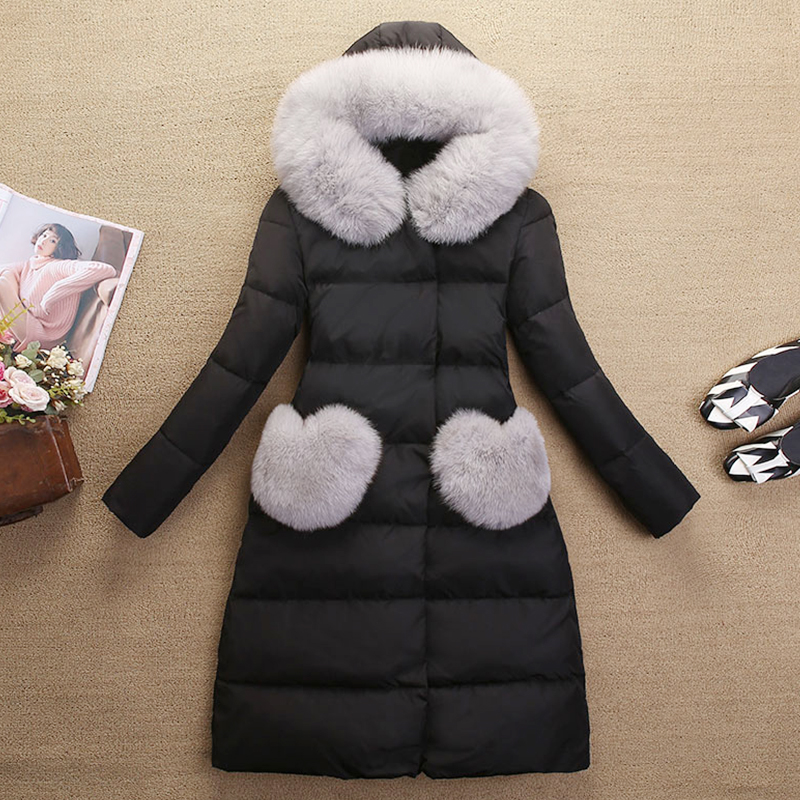 Korean Winter Women Coats 2017 New Really Fox Fur Collar Long Jacket Female A-line Slim Coat Solid Thick Casual Black Outerwear