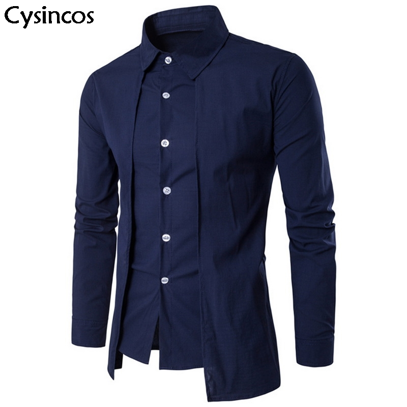Cysincos Men Dress Shirt Fashion Design Long-Sleeved Casual Male Pure Color Social Fake Two Pieces Shirt Slim Fit Chemise Homme