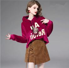 New Fashion Spring and Autumn pleuche Hooded Skirt 2pcs Suit