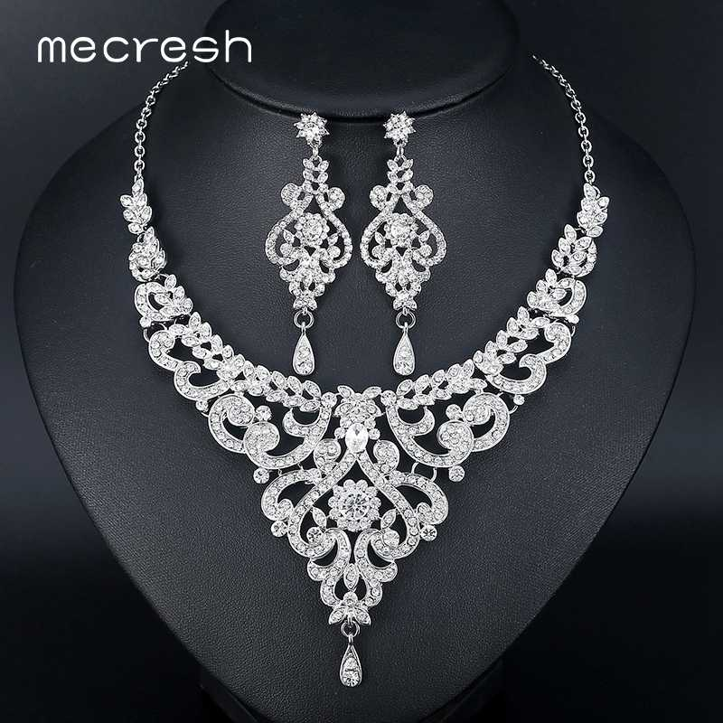 Mecresh Fashion African Jewelry Sets for Women Leaf Crystal Rhinestone Necklace Earrings Sets Bridal Wedding Jewelry MTL509