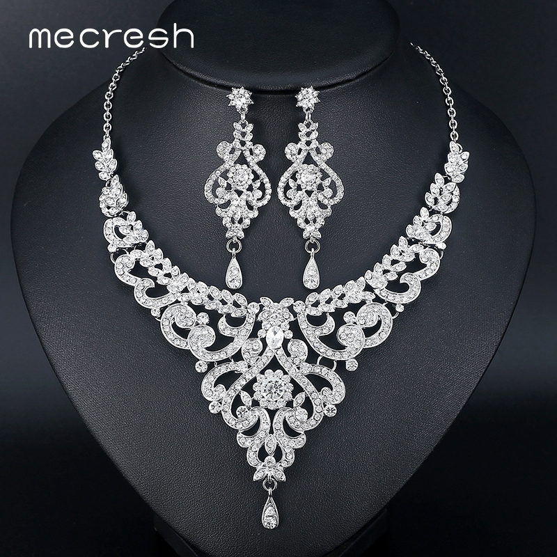 Mecresh Fashion African Jewelry Sets for Women Leaf Crystal Rhinestone Necklace Earrings Sets Bridal Wedding Jewelry MTL509 a suit of retro fake gem rhinestone leaf tassel necklace and earrings for women