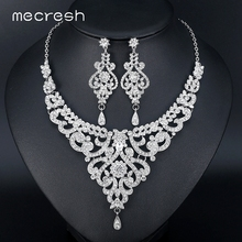 Mecresh Fashion African Jewelry Sets for Women Leaf Crystal Rhinestone Necklace Earrings Sets Bridal Wedding Jewelry MTL509(China)