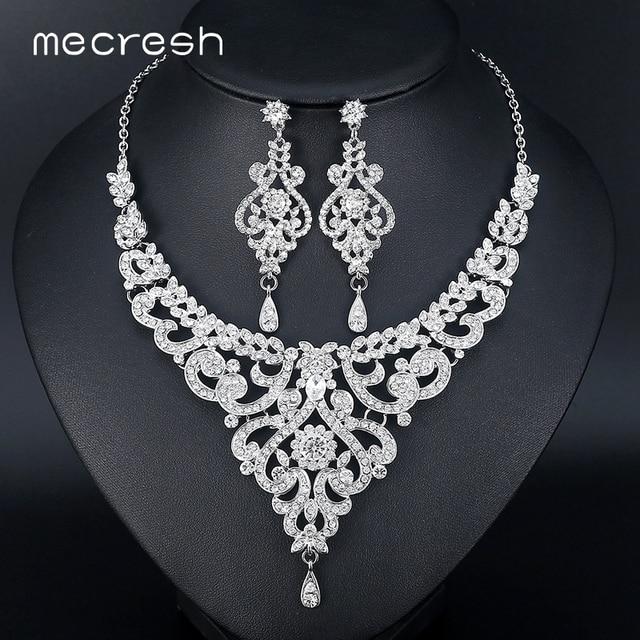 Mecresh Fashion African Jewelry Sets for Women Leaf Crystal Rhinestone  Necklace Earrings Sets Bridal Wedding Jewelry MTL509 5e4e60ba7bdb