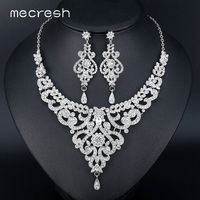 Mecresh Fashion African Jewelry Sets For Women Leaf Crystal Rhinestone Necklace Earrings Sets Bridal Wedding