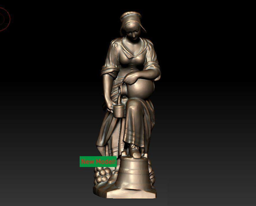 3D model for cnc 3D  CNC machine in STL file format Women Pour milk 3d model relief for cnc in stl file format head of an eagle