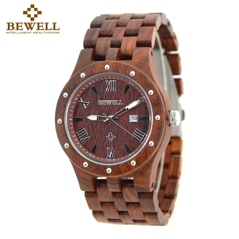 BEWELL Red Wood Watch Mens Watches Top Brand Luxury Clock Men Luxury  Male Watches Luxury Analog Quartz Watch Dropshipping 109A