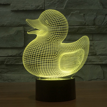 Novelty 3D illusion Night Light Cute Duck Design LED Lighting Gadget Table Lamp Nightlight for Child Gift Home Decor