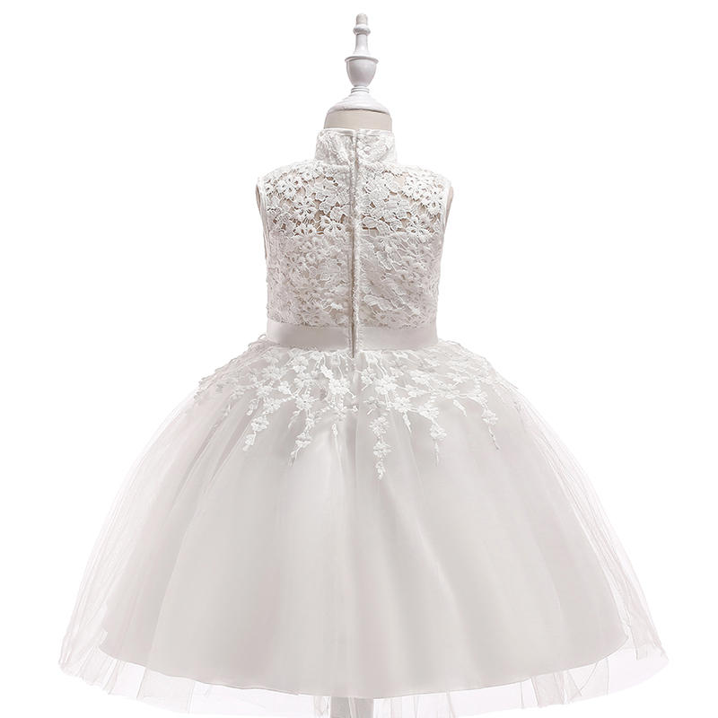 Champagne Short Flower Girls Dress For Wedding High Neck Flowers Little Girls Pageant Wedding Party Little Bride Dresses
