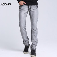 ICPANS Brand Mens Casual Jeans Slim Fit Black Grey Blue Straight High Elasticity Fit Loose Waist