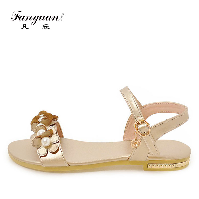 Women Open Toe Floral Flat Slippers Casual Slingback Sandals Summer Shoes Size