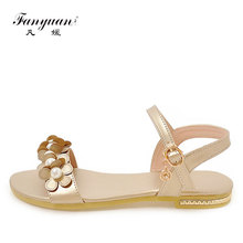 fanyuan  ladies fancy Flat Sandals beautiful Pearls Flower Open toes girls Slingback shoes Summer women Casual Beach sandals