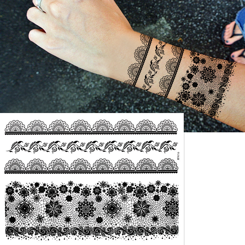1sheet New Henna Black Lace Tattoo Sticker Totem Flower