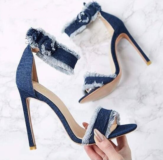 2017 Summer Newest Woman Jeans Sandal Sexy Open Toe Ankle Strap Shoes Denim Blue Super High Thin Heels Sandal Gladiator Sandal 2017 summer newest wedge sandal for woman peep toe denim blue lace up platform sandal sexy embroidery gladiator sandal
