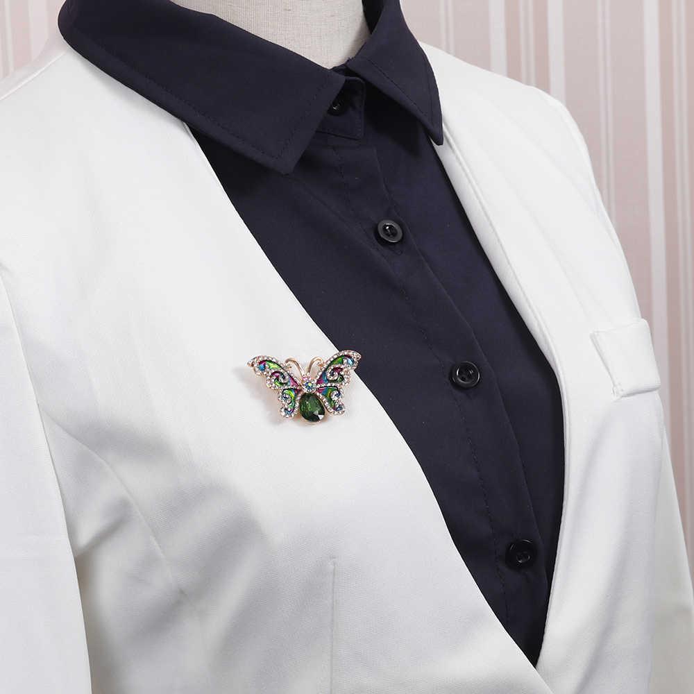 Danbihuabi эмаль Цвет Бабочка Брошь зеленый Стекло большой брошь и булавки для Для женщин Для мужчин платье шарф Свадебная вечеринка ювелирные изделия