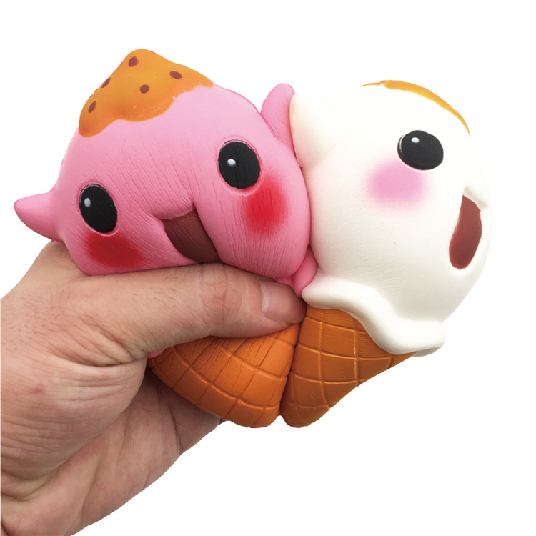 Cute Bear Ice Cream Squishy Toys Slow Rising Jumbo Phone Strap Pendant Soft Scented Straps Bread Cake Kid Fun Toy Gift P20