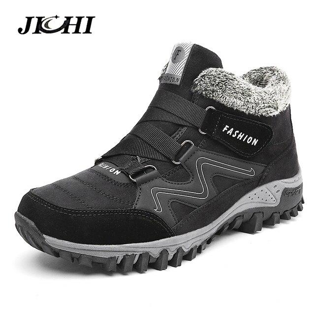 JICHI Erkekler Çizmeler Kış Kürk Ile 2018 Sıcak Kar Botları Erkek Kış Çizmeler iş ayakkabısı erkek ayakkabı Moda Kauçuk Ayak Bileği Ayakkabı 35 -46