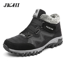 JICHI Men Boots Winter With Fur 2018 Warm Snow Boots Men Winter Boots Work Shoes