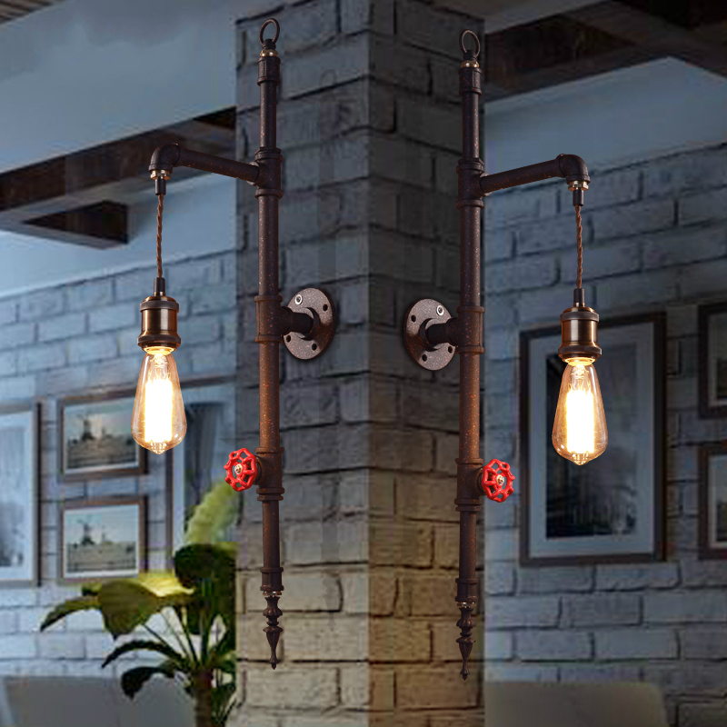 industrial LOFT retro water pipe iron wall lamp bar coffee shop restaurant dining room wall lamp 110-240V цена