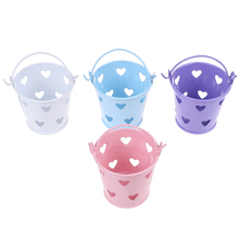 1:12 Scale Mini Cute Candy Metal Buckets Decoration for Dollhouse Miniature Toy Doll Food Kitchen Living Room Accessories