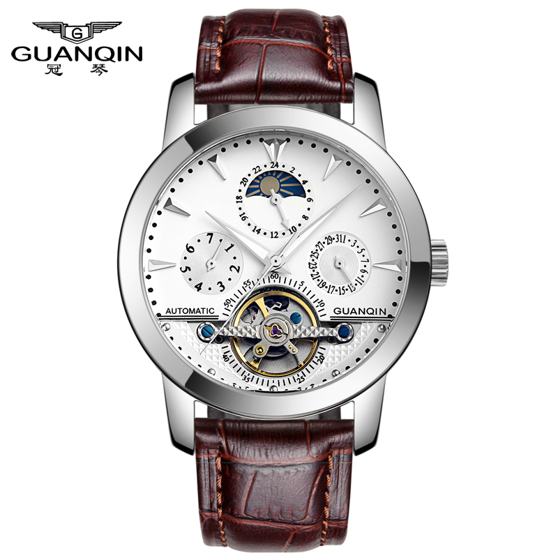 ФОТО GUANQIN GQ10028 Luxury Brand Tourbillon Watches Men Waterproof Skeleton 8 Stylish Fashion Automatic Self-Wind Watches Gold Clock