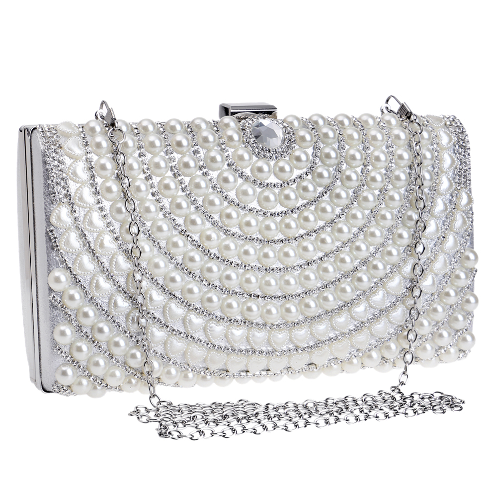 Beaded One Side Women Evening Bags Messenger Lady Handbags Purse Bag Silver Gold Black Chain Day Clutches Wallets In From Luggage