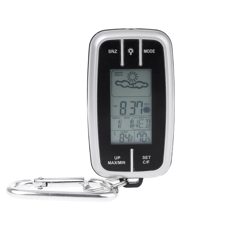 Mini Portable Weather Station Forecast Temperature Humidity Monitor Clock with Flashlight Compass Thermometer