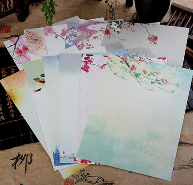 8 Pcs / Pack New Vintage Chinese Style Color Ink Painting Kraft Letter Paper