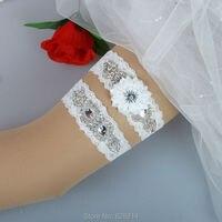 Thiết kế ban đầu vintage ivory lace wedding garter belt set với thạch đính bridal leg garter vành đai thủ công hy044