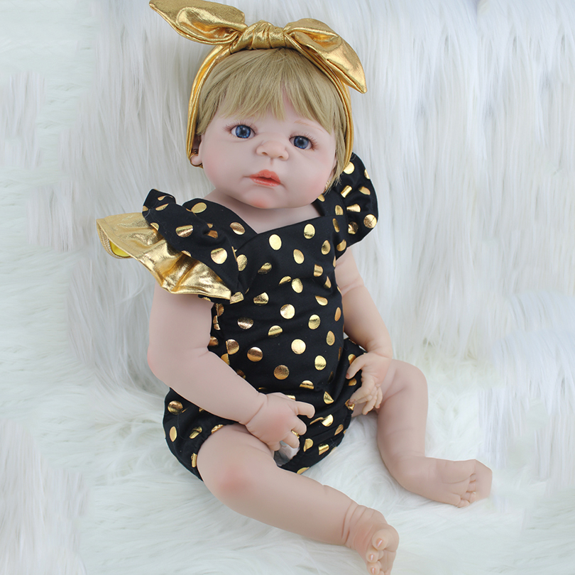 22inch Full Body Silicone Reborn Baby Doll Toy Lifelike 55cm Newborn Princess Toddler Babies Alive Victoria Doll Girl Bonecas