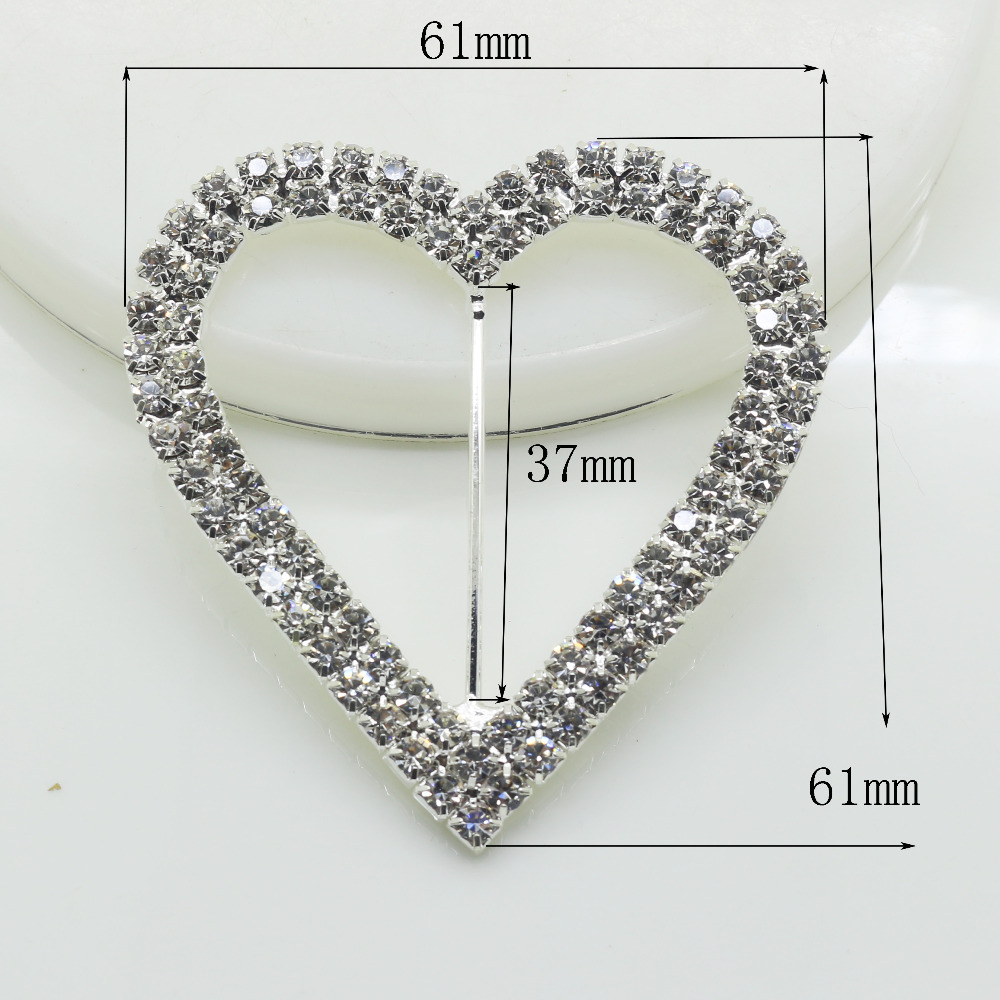 Romantic 10 pc Heart 61*61mm Stunning Clear Rhinestone Buckle Fibbia cuore Per Invito A Nozze Diamante Ribbon Sliders