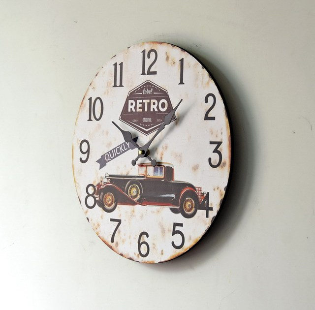 Retro Bubble Car Paiting Wood Decorative Clock Home Wall Clock For Vintage Home Deco